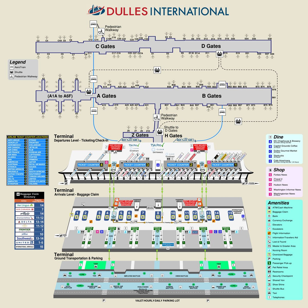 dia map of terminal Washington Dulles International Airport Code Map And Information dia map of terminal